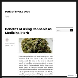 Benefits of Using Cannabis as Medicinal Herb – DENVER SMOKE BUDS