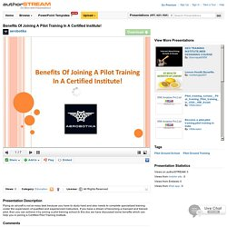 Benefits of Joining a Pilot Training in a Certified Institute!