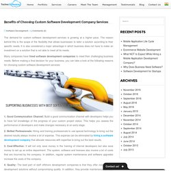 Benefits of Choosing Custom Software Development Company Services -