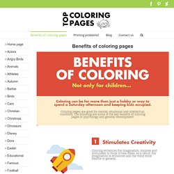 Benefits of coloring pages for children - infographics