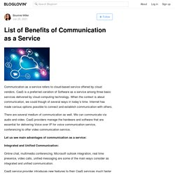 List of Benefits of Communication as a Service