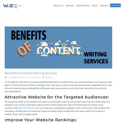 Benefits of Content Writing Services