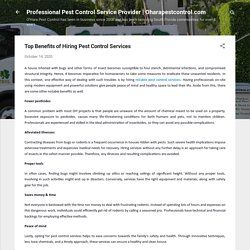 Top Benefits of Hiring Pest Control Services
