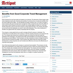 Benefits from Good Corporate Travel Management
