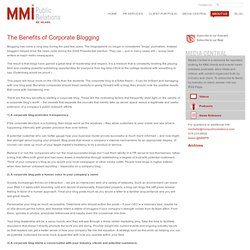 The Benefits of Corporate Blogging by MMI Public Relations