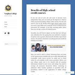 Benefits of High-school credit courses – Vaughan College