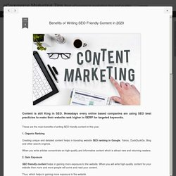 Benefits of Writing SEO Friendly Content in 2020