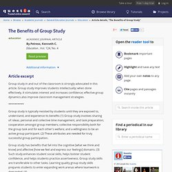 The Benefits Of Group Study