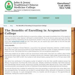 The Benefits of Enrolling in Acupuncture College