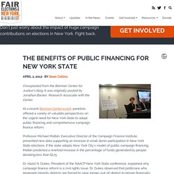 The Benefits of Public Financing for New York State