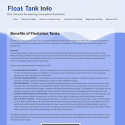 Benefits of Floatation Tanks