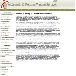 Benefits of Having an Online Resume Portfolio