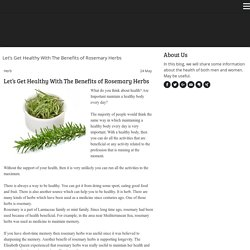 The Benefit of Rosemary Herbs