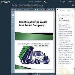 Benefits of hiring Waste Bins Rental Company