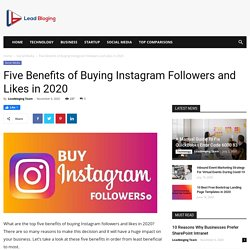 Five Benefits of Buying Instagram Followers and Likes in 2020