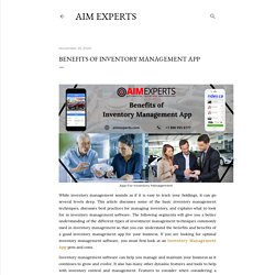 Benefits of Inventory Management App