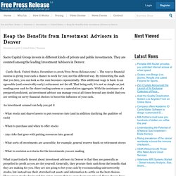 Reap the Benefits from Investment Advisors in Denver