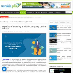 Benefits of starting a Nidhi Company Online in India