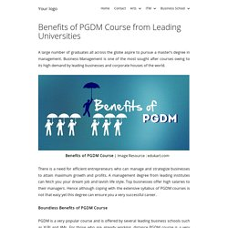 Benefits of PGDM Course from Leading Universities