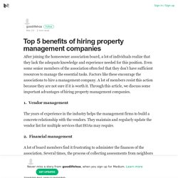 Top 5 benefits of hiring property management companies