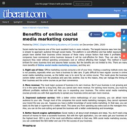 Benefits of online social media marketing course
