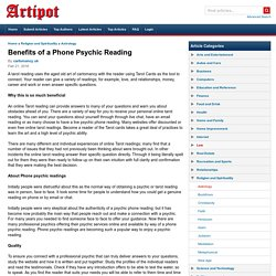 Benefits of a Phone Psychic Reading Online