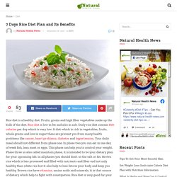 7 Days Rice Diet Plan and Its Benefits