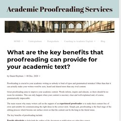 What are the key benefits that proofreading can provide for your academic text?