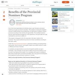 Benefits of the Provincial Nominee Program