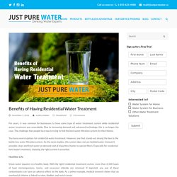 Benefits of Having Residential Water Treatment