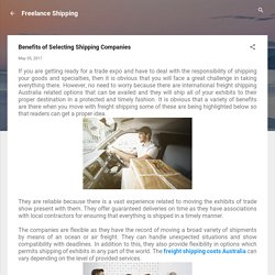 Benefits of Selecting Shipping Companies