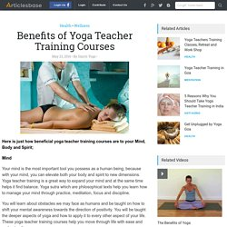 Benefits of Yoga Teacher Training Courses