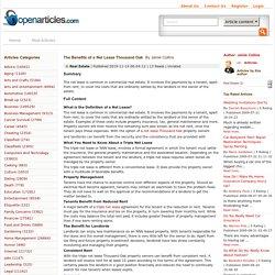 The Benefits of a Net Lease Thousand Oak - OpenArticles.com