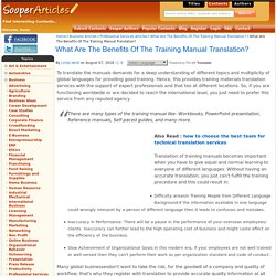 Why Should You Go For Training Manual Translation Services?