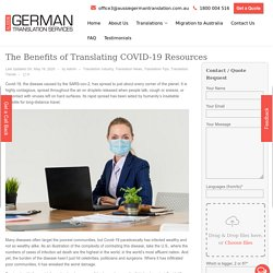 Get The Benefits of Translating COVID-19 Resources