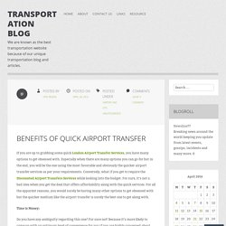 Benefits of Quick Airport Transfer