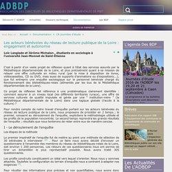 Les acteurs bénévoles du réseau de lecture publique de la Loire : engagement et autonomie