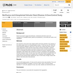 Benfluorex and Unexplained Valvular Heart Disease: A Case-Control Study
