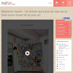 Benjamin Spark - Un artiste qui trace sa voie sur la toile entre street art et pop art