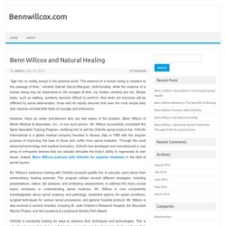Benn Willcox and Natural Healing
