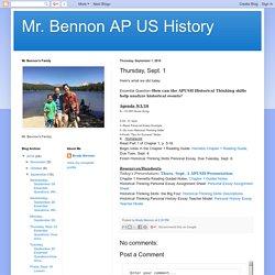 Mr. Bennon AP US History: Thursday, Sept. 1