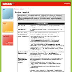 Benvenuti - Zanichelli - Esercizi Italiano - Esprimere opinioni