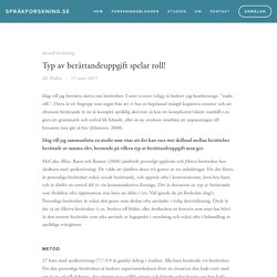 Typ av berättandeuppgift spelar roll! — språkforskning.se