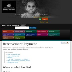 Bereavement Payment - Australian Government Department of Human Services