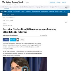 Premier Gladys Berejiklian announces housing affordability reforms