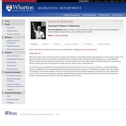 Jonah Berger - The Wharton School of the University of Pennsylvania