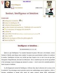 Instinct, intelligence et intuition