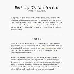 Berkeley DB: Architecture - Karan Sikka
