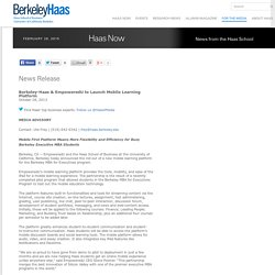 Berkeley-Haas & EmpoweredU to Launch Mobile Learning Platform
