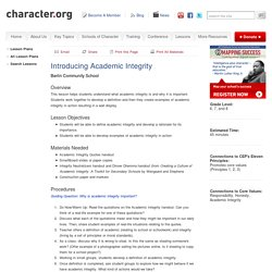 Introducing Academic Integrity (Grades 6-8)